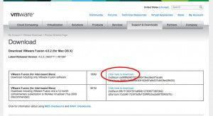 VMWare Download Screen