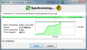 Free File Sync Progress Window