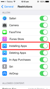 Installing Apps Screen Capture
