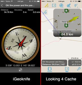 iGeoknife vs Looking 4 Cache Compass Comparo
