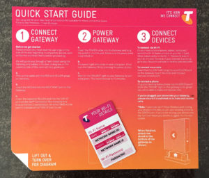 Telstra Gateway Max 2 Quick Start Card Front