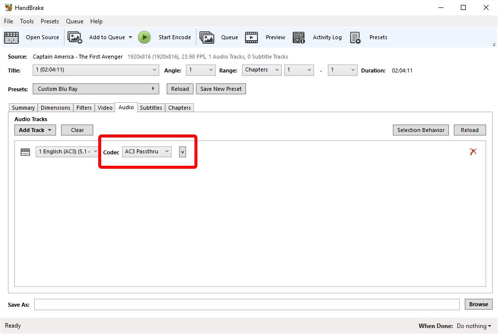 Easiest Best Optimal settings for Handbrake 1080p Blu Ray