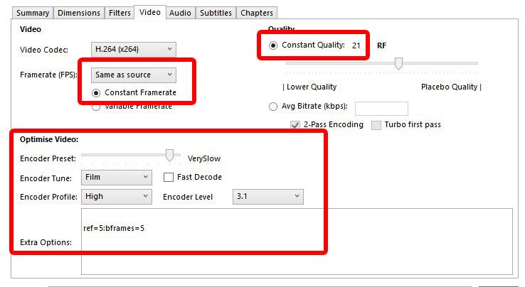 Easiest Best Optimal settings for Handbrake DVD Video